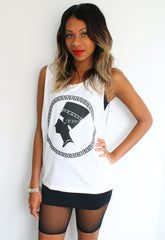 Nefertiti Head Print Sleeveless White T-shirt