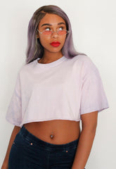 Oversized Lavender Bleached Crop Tee