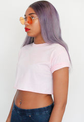 Pink Bleached Crop Top