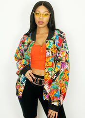 Vintage Carole Little Pop Art Style Silk Bomber Jacket