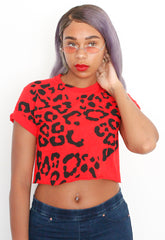Red Hot Leopard Crop Tee