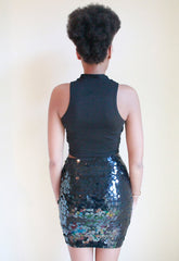 Vintage 1990's Sequin Disk Bodycon Mini Skirt