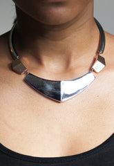 Silver Coloured Geo Collar Necklace