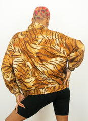 Vintage KAKTUS Tiger Gyal 90s Nylon Casual Shell Jacket