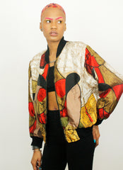 Vintage Angela Tong Picasso 80's Satin Bomber Jacket