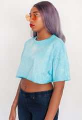 Oversized Tropical Blue Bleached Crop Tee