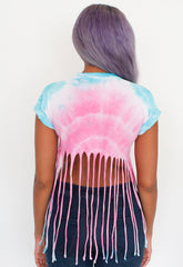 Unicorn Tie Dye Fringed Crop Tee