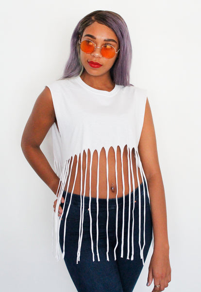White Fringed Tassel Crop Top