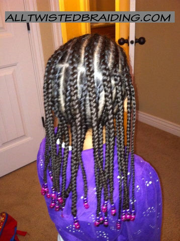 Cornrows with hanging braids with beads