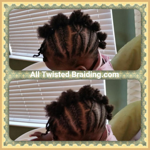 Baby cornrow frohawk with twist bangs. All Twisted Braiding