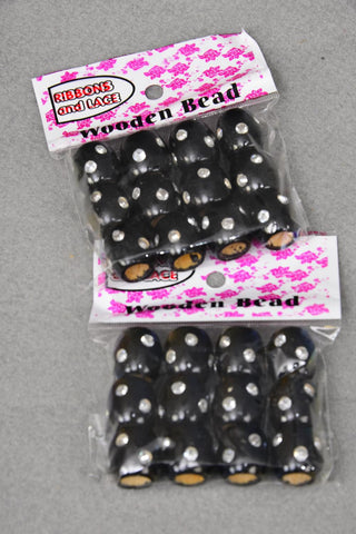 Wooden Hair Beads with Clear Gems