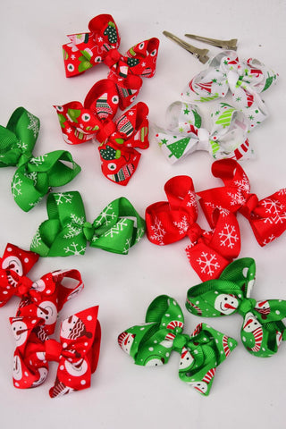 Christmas Hair Bow Large XMAS Grosgrain Bow-tie