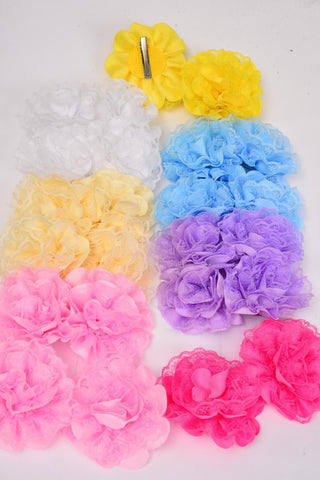 Hair Bow For Kids Pastel Lace Flower Alligator Clip