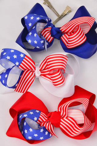 Hair Bow Patriotic-Flag Jumbo Alligator Clip Double Layer Grograin Bowtie