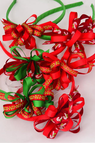 Headband for Kids Christmas Grosgrain Loop Bow Candy Cane & Holly Berrys mix