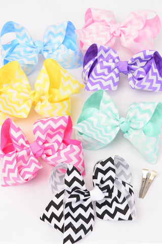 Hair Bow Jumbo Chevron Pastel Grosgrain Fabric Bow-tie