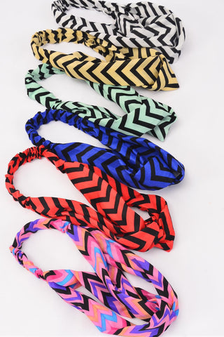 Headband Infinity Style Fabric Chevron Pattern Stretch