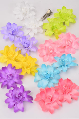 Alligator Clip Pastel Flower Clips Set of 2