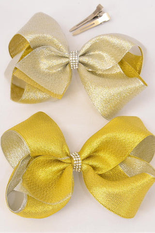 Large Alligator Clip Jumbo Double Layer Center Clear Stones Metallic Hair Bow Clips Gold/ Silver