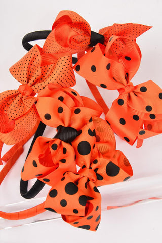 "Headband Horseshoe Halloween Grosgrain Polka Dots Bow-tie 5""x 4"" Wide"