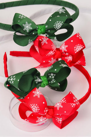 Kids Christmas Headband Xmas Grosgrain Fabric Bow-tie SnowFlakes