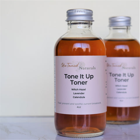 Tone it up witch hazel toner with lavender and calendula herbs.