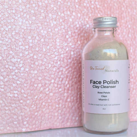 Face Polish Clay Cleanser with roses.