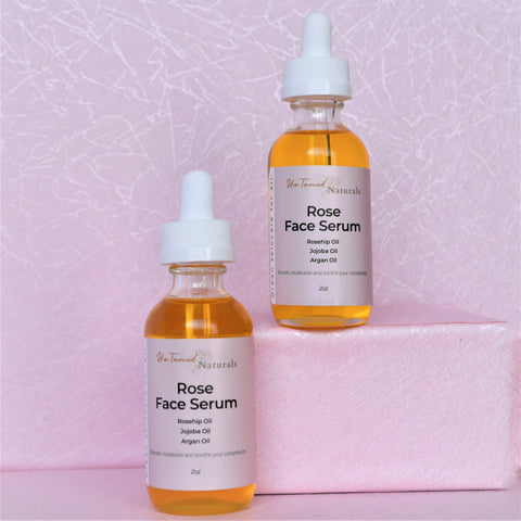 Rose Face Serum for all skin types, vegan, plant based all natural.