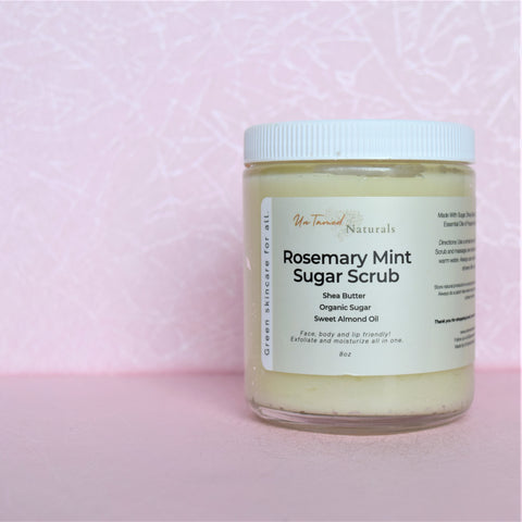 Romsemary Sugar Scrub with peppermint and shea butter.