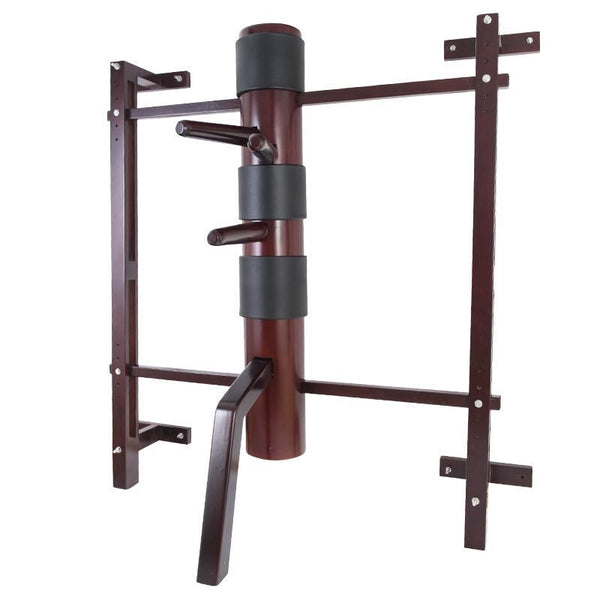 Wing Chun Wooden Dummy with SOLID Wooden Body on Adjustable Wooden Wall Mount