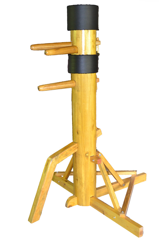 Wing Chun Wooden Dummy with SOLID Wooden Body on Tripod Base - Red