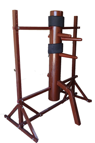 Wing Chun Wooden Dummy with LAMINATED Wooden Body on Adjustable Wooden Frame
