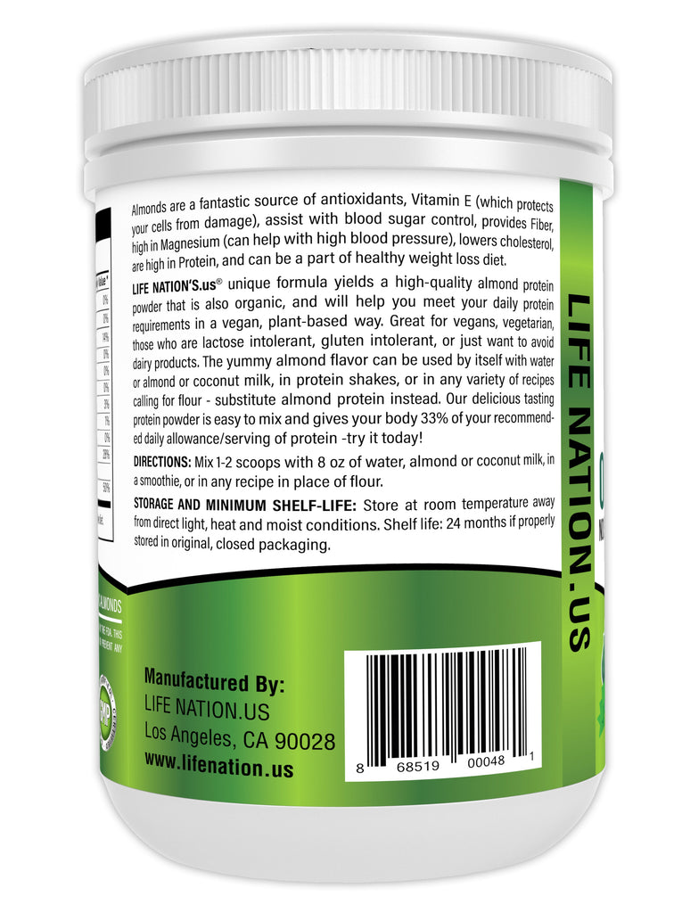 LifeNation.us Organic Vegan Almond Chocolate Protein Powder