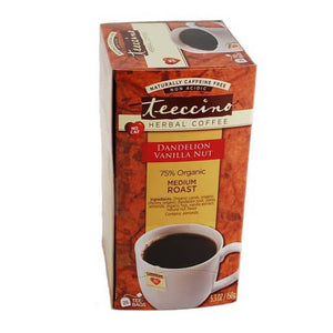 Teeccino Herbal Coffee Dandelion Vanilla Nut 25 Tee Bags