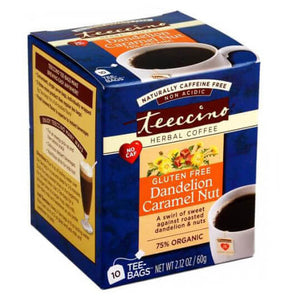 Teeccino Herbal Coffee Dandelion Caramel Nut 10 Tee Bags