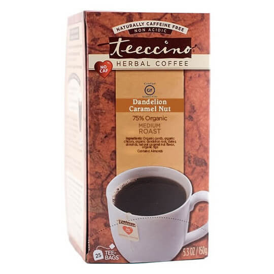 Teeccino Herbal Coffee Dandelion Caramel Nut 25 Tee Bags