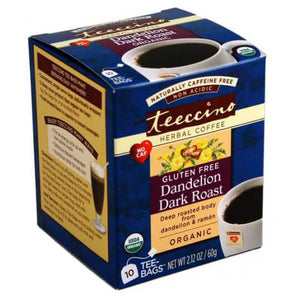 Teeccino Herbal Coffee Dandelion Dark Roast 10 Tee Bags