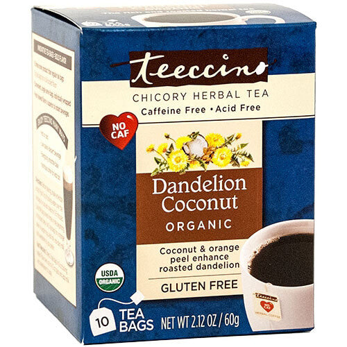 Teeccino Herbal Coffee Dandelion Coconut 10 Tee Bags