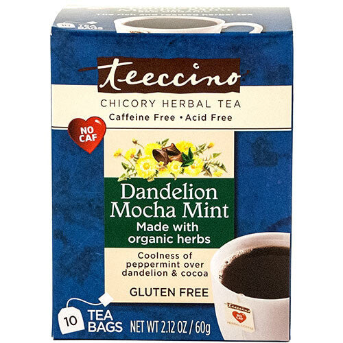 Teeccino Herbal Coffee Dandelion Mocha Mint 10 Tee Bags