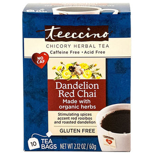 Teeccino Herbal Coffee Dandelion Red Chai 10 Tee Bags