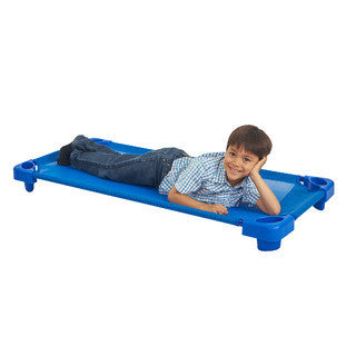 Early Childhood Resources ELR-010-5-C Assembled Standard Kiddie Cot with Casters - Blue