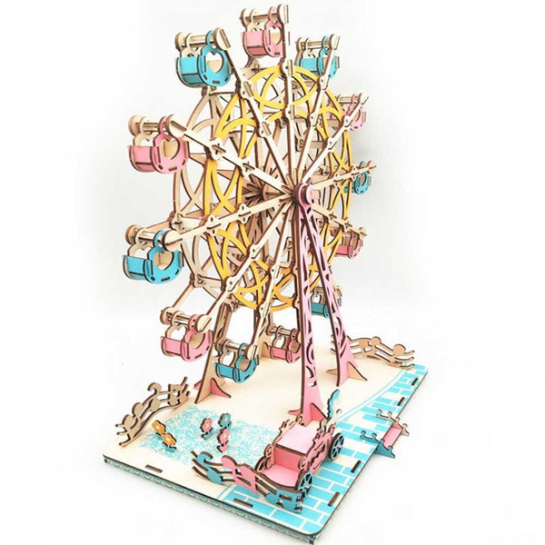 DIY 3D Laser Cutting Wooden Ferris Wheel Puzzle Game for Children Three-dimensional assembly model Kids Model Building Kits Toy