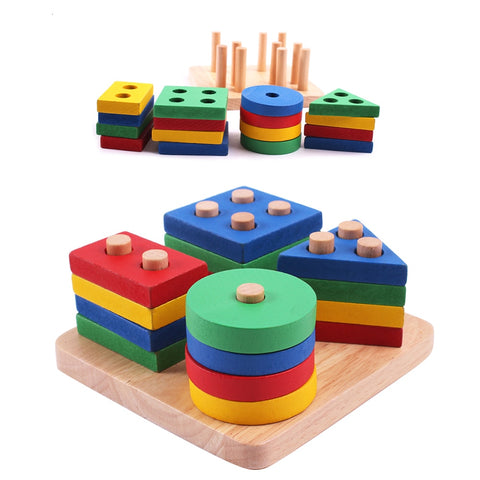Montessori Toys Educational Wooden Toys for Children Early Learning Exercise Hands-on ability Geometric Shapes Matching Games