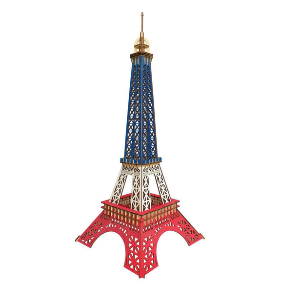 Color Paris Eiffel Tower 3D Wood Puzzle Laser Cutting Craft Wood Puzzle Educational Toy Wood Puzzle Home Decoration