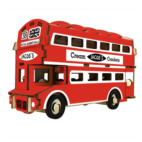 3D Puzzle DIY Creative 3D British double-decker bus Wooden Model Building Kit Toy Hobby Gift for Kids Adult P69