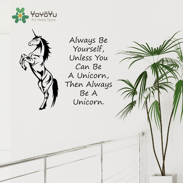 Unicorn Horse Wall Art Sticker Always Be Yourself Unless You Can Be A Unicorn Quotes Decal Kids Nursery Room Deco Mural NY-40