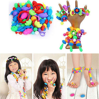 Childrens/Kids String Along Wooden Lacing Threading Beads Tub Shapes Toys for Kids 50 Beads