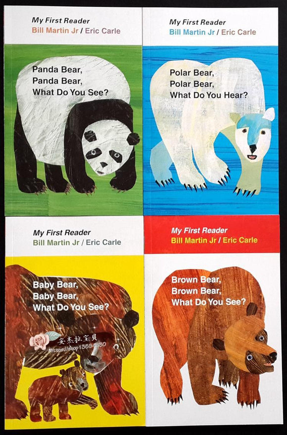 4PCS English book for children My First Reader Mini Library: Brown Bear, Brown Bear, What Do You See? educational popular book