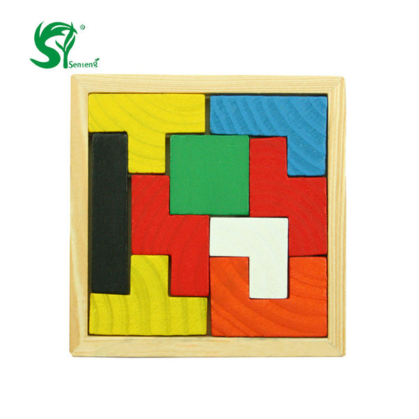 Montessori Wooden Tangram Brain Teaser Puzzle Tetris Game Educational Baby Kid Toys for Chileren Educational puzzles gift