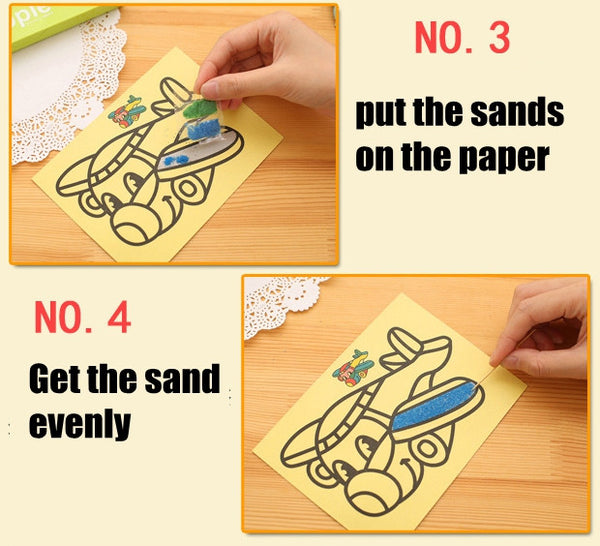 5pcs/lot Kids Diy Color Sand Painting Art Creative Drawing Toys Sand Paper Art Crafts Toys for Children